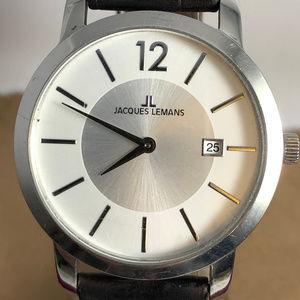 Vintage Jacques Lemans Silver Tone Watch Black